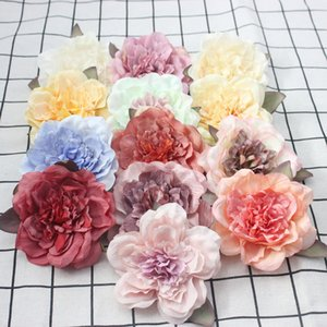 Tea Rose artificiale della testa Tea Rose Bud fiore di seta testa DIY Wedding decorazione domestica 9 centimetri Simulazione Tea Rose