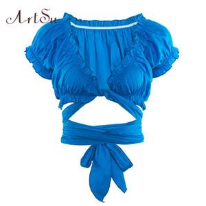 ArtSu Vogue Tshirt Ruffle Bassiera profondo scollo a V Sexy Lace Up Tee Shirt Femme sexy manica corta estivo Top Fashion ASTS20773 Y200109