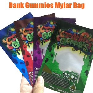 Dank gélifiés Mylar Sac d'emballage 500mg Zip edibles verrouillage Emballage Worms Bears Cubes Gummy pour Dry Herb Tobacco Flower vs sacs cookies