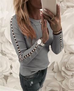 Tasarımcı Bayan İnci Patchwork Tshirts Moda Hollow Out Uzun Kollu Bayan Ç Boyun Top Bahar İnce Bayan Casual Tee