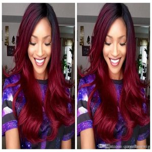Free shipping red twoTone ombre black to 99J burgundy color body wave swiss lace wig heat resistant synthetic lace front wigs ombre Hair