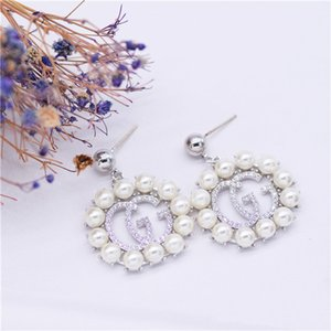 European and American fashion 2020 earneedle letter earrings luxury pearl ladies earrings