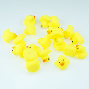 4CM high quality yellow mini yellow duck Baby pinch water toy Bathing duck sounding toy free shipping