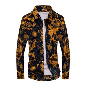 Heißer Verkauf Designer New Fashion Men Blumendruck Slim Fit Shirt Herren Langarm Herbst Casual Dress Shirts 19 Farben