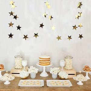Lot de 1pc 3,8M Foil Gold Star Garland Bonne année Décoration d'arbre de Joyeux Noël Décorations de Noël Decoraiton pour la maison