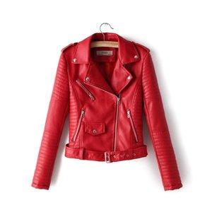 Imitación de las mujeres chaquetones de cuero chaqueta de otoño primavera ropa femenina S-XL cinturón de bolsillo con cremallera libre del envío Epaulette gota 3color