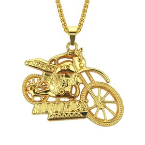 Cool Punk Exaggerated Motorcycle Pendant Necklace Hiphop Mens Hip-hop Motorcycle Pendant