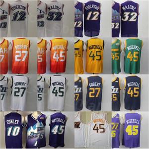 Uomini Basket Ballocciere Rudy Gobert Jersey a buon mercato 27 Donovan Mitchell 45 John Stockton 12 Karl Malone 32 Mike Conley 10 Edizione ha guadagnato città