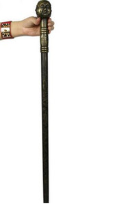Antique copper bronze Buddha cane walker crutches stick passions birthday decoration ornaments