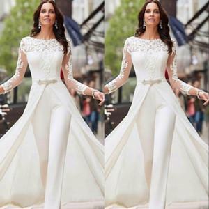 Белые Комбинезоны Брюки с длинным рукавом свадебные платья кружева сатин с Overskirts шариков кристаллов Плюс Размер Свадебные платья Vestidos De NOVIA