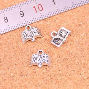163pcs Charms ouvert Holy Bible livre Antique Argent Plaqué Pendentifs Faire la main bricolage tibétain Bijoux en argent 11mm