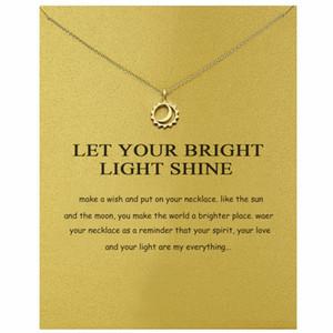 Moda collane Moon Sun Collana ciondolo oro argento Colori ciondoli in lega con carta regalo Gioielli moda