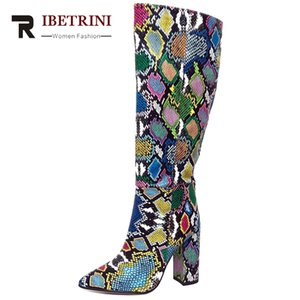 RIBETRINI Big Size 34-43 New Ladies High Heels Shoes Woman Colorful Slip On Boots Fashion Snake Veins Prints Boots Women