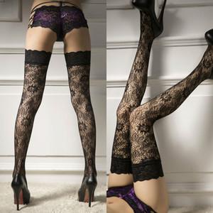Mujeres Sexy Medias tapa del cordón del muslo Negro floral medias finas calcetería caliente