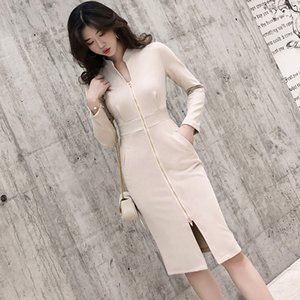Nuevo vestido Khaki Deer Velvet manga larga Hot Ins Office Ladies Work Wear Split Diseño único Otoño Party Simple Women Dresses 291