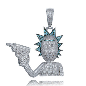 18K Gold Cartoon Character Holding a Gunman ICED OUT Zircon Bling Charm Chains Hip Hop Jewelry for Men Women