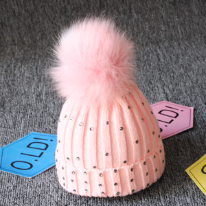 Baby Knitted Diamonds Hats Fur Pom Pom Bling Bling Crochet Caps Winter warm Infant Kids Boys Girls Wool Beanie cap 8 colors C1007
