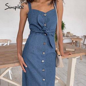Cheap Dresses Simplee longa sexy denim com cinto de botão frontal Vintage denim Primavera Outono vestido do escritório senhoras magro 2020