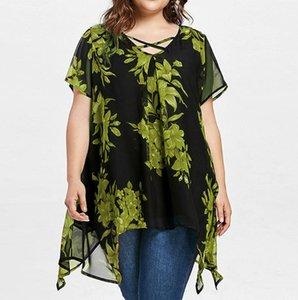 여자 더블 레이어 쉬폰 티셔츠 5XL 여름 디자이너 크로스 꽃 불규칙 느슨한 티셔츠 여성 플러스 사이즈 패션 캐주얼 의류 인쇄