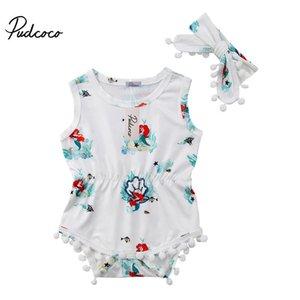 Pudcoco Новорожденных Baby Girl одежда Русалка печати кисточкой рукавов Romper комбинезон стяжкой Эпикировка Set Детская летняя одежда
