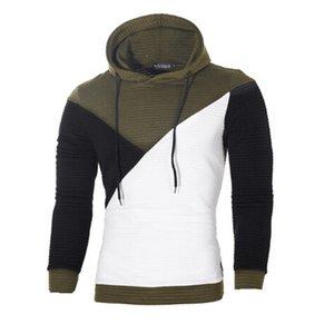 Moda Erkekler İnce Hoodie Renk Engelleme Patchwork Sıcak Kapşonlu Sweatshirt Sonbahar Kış Ordu Yeşil Örme Streetwear Tops