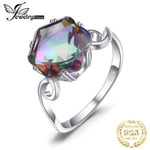 JewPalace 4CT Genuine Arcobaleno Mystic Topaz 925 anelli anello anelli d'argento per le donne anello di fidanzamento in argento 925 pietre preziose gioielli