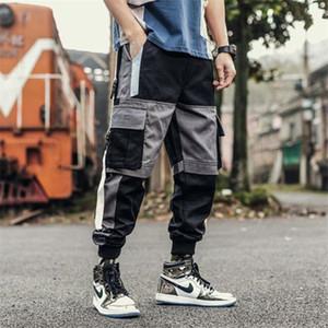 Herbst Mens Cargo Pants Winter Fashion japanischen Art-Taschen Tunnelzug losen Track Pants Mens Designer Street Style Hip Hop Hosen