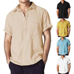 2019 Nouveaux Hommes D'été Solide Coton Lin Chemises Casual Manches Courtes Slim Fit Chemises Homme Homme Muscle Chemise Tops Tee Billie Eilish