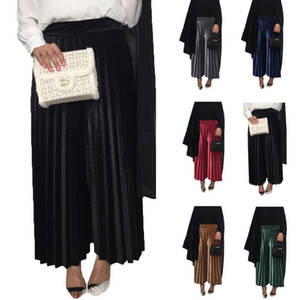 Muslim Women Pleated Pants Velvet High Wasit Elastic Wide Leg Pants Trousers Dubai Islamic Bottoms Loose Straight Winter Dubai