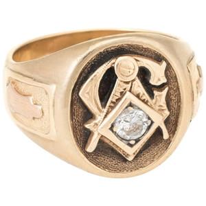 """Altın Kaplama Elmas kaplı """"AG"""" mason Logo Altın Yüzük Moda için erkekler Yıldönümü Günü Hediye Boyut 7-12"""