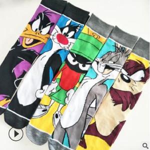 10 PCS = 5 paires 39, 40, 41, 42, 43 produits nouveaux de l'UE, plus SIZ en Europe et les chaussettes personnalité tube hommes dans le dessin animé