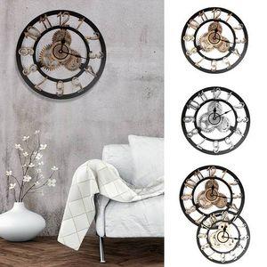 3D Gear Wooden Wall Clock Industrial Retro Estilo Números romanos Romanos Sweep Mano hecho a mano Vintage Reloj Europeo Decoración de la pared