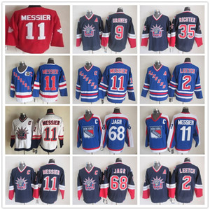 Vintage New York Rangers 11 Mark Messier 2 Brian Leetch 68 Jaromir Jagr 35 Mike Richter Bianco Blu Hockey su ghiaccio Maglie