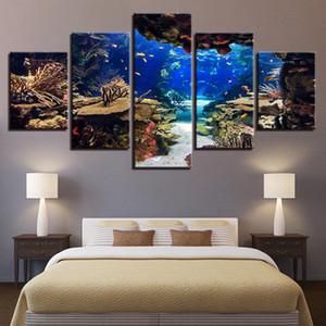 Tuval Wall Art Pictures Ev Dekorasyonu Oda 5 adet Sualtı Deniz Balık Mercan Resifler Tablolar HD Baskılar Seascape Posterler (No Frame)