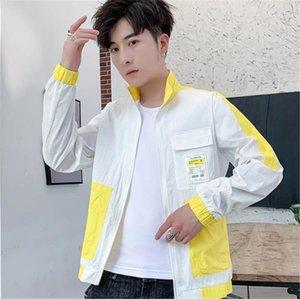 Adolescent mince manches des hommes du survêtement Casual Male lambrissé Vêtements Sunscreen Lapel Neck Designer Mens Jackets longue