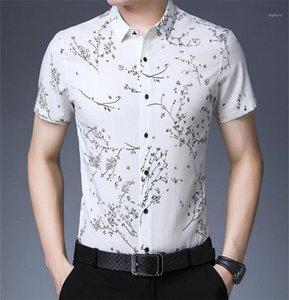 Tees Beiläufige Dünne Mens Tees Sommer Floral Bedruckte Herren Polo Mode Revers Hals Kurz