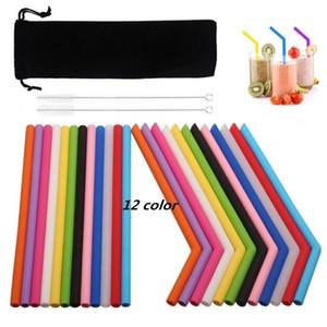 25cm de la paja de silicona de colores recta y curva pajita ecológico pajas reutilizables cepillo de limpieza para el hogar herramientas para beber la barra del partido