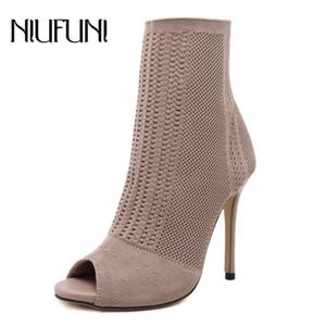 NIUFUNI Mulheres Botas de Salto Alto Moda Peep Toe Malha Meias Ankle Boots Primavera Outono Sapatos Mulher Sexy Botas de Salto Fino Senhora