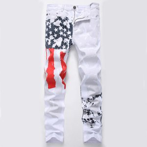New men's fashion white print casual jeans high stretch slim five-pointed star red pants hot sale