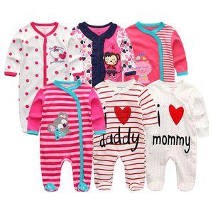 2020 6pcs lot Newborn Unisex 100%Cotton Baby Girls Clothes Set Rompers Summer Baby Boys Clothes Full Sleeve Roupas de