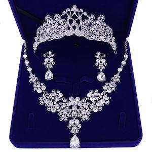 Luxus Zirkonia Tiara und Halskette Ohrring für Frauen Hochzeit Schmuck-Set für Braut Zirkon Kronen Schmuck Braut Zubehör