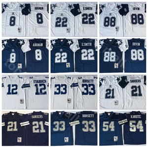NCAA Vintage Football 21 Deion Sanders 8 Troy Aikman 22 Emmitt Smith 33 Tony Dorsett Jerseys Randy White Michael Irvin Roger Staubach Navy