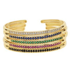 Top Quality Rainbow Colorful Crystal Bracelets gold color Plated CZ Bracelet girl Party sparking cz delicate tiny thin bangle