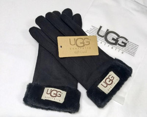 Guanti da sci da donna Sport all'aria aperta Design del marchio Guanti in pelle a cinque dita in pelle con pelliccia Guanti invernali in pelle calda per esterno a tinta unita