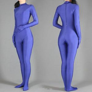 Viola Spandex Zentai Full Body stretto pelle tuta Zentai tuta del costume per le donne / uomini Unitard Lycra Dancewear