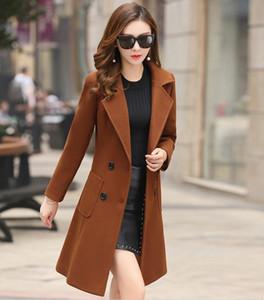 2020 New Wool Coat Female Winter Fashion Long Outwear Woolen Slim Coat Suit-dress Parka Overcoat Women's Jacket Long Trench Coats