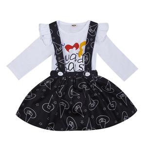 Baby-Prinzessin Rock Halloween Cartoon Brief Langarm-Body für Kinder Freizeitkleidung Baby-Kind-Mädchen-Riemen-Knopf Hexe Rock
