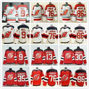 2019 2020 New Jersey Devils Hockey maglie 86 Jack Hughes 76 PK Subban 35 Cory Schneider 13 Nico Hischier 9 Taylor Sala Rossa bianco Jersey