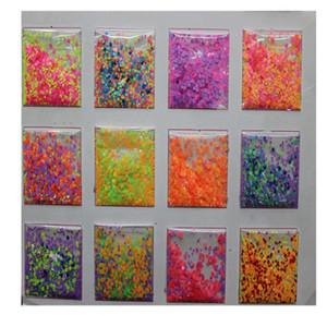 Nail Art Nail 50g opaco Mix poliestere Neon Confetti, opaco Dot Confetti glitter, Chunky glitter, colore rosa caldo Giallo Verde Dots