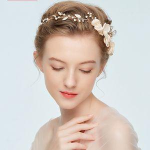 Femmes Alliage Branche Feuille De Bande De Cheveux Tissu Art Accessoires De Mariage Cheveux De Mariée Fermoir Mode Vends Bien Avec La Couleur Dorée 10 5nh J1